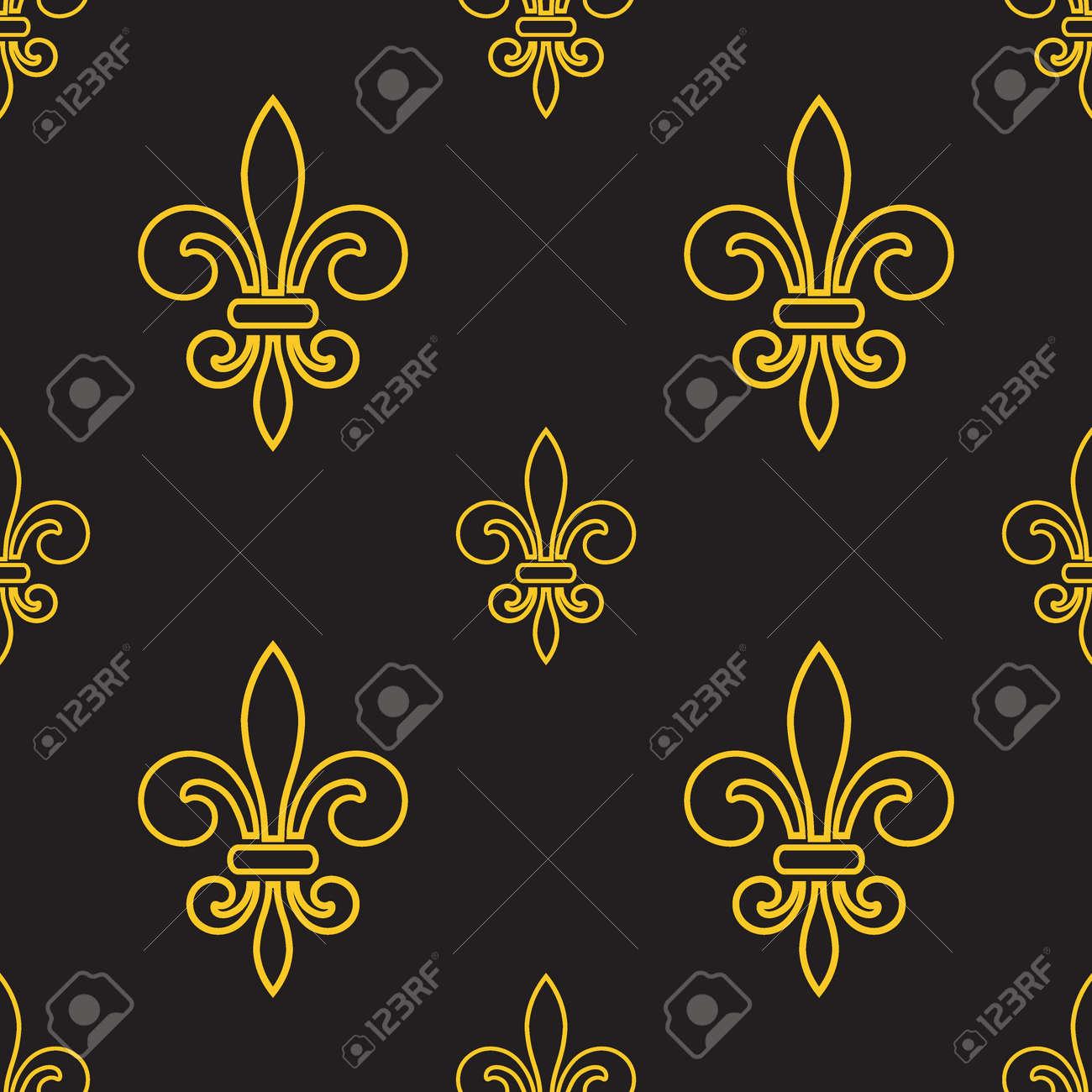 Nahtlose Muster Mit Gold Fleur-de-lis Auf Grauem Hintergrund. Grafik ...