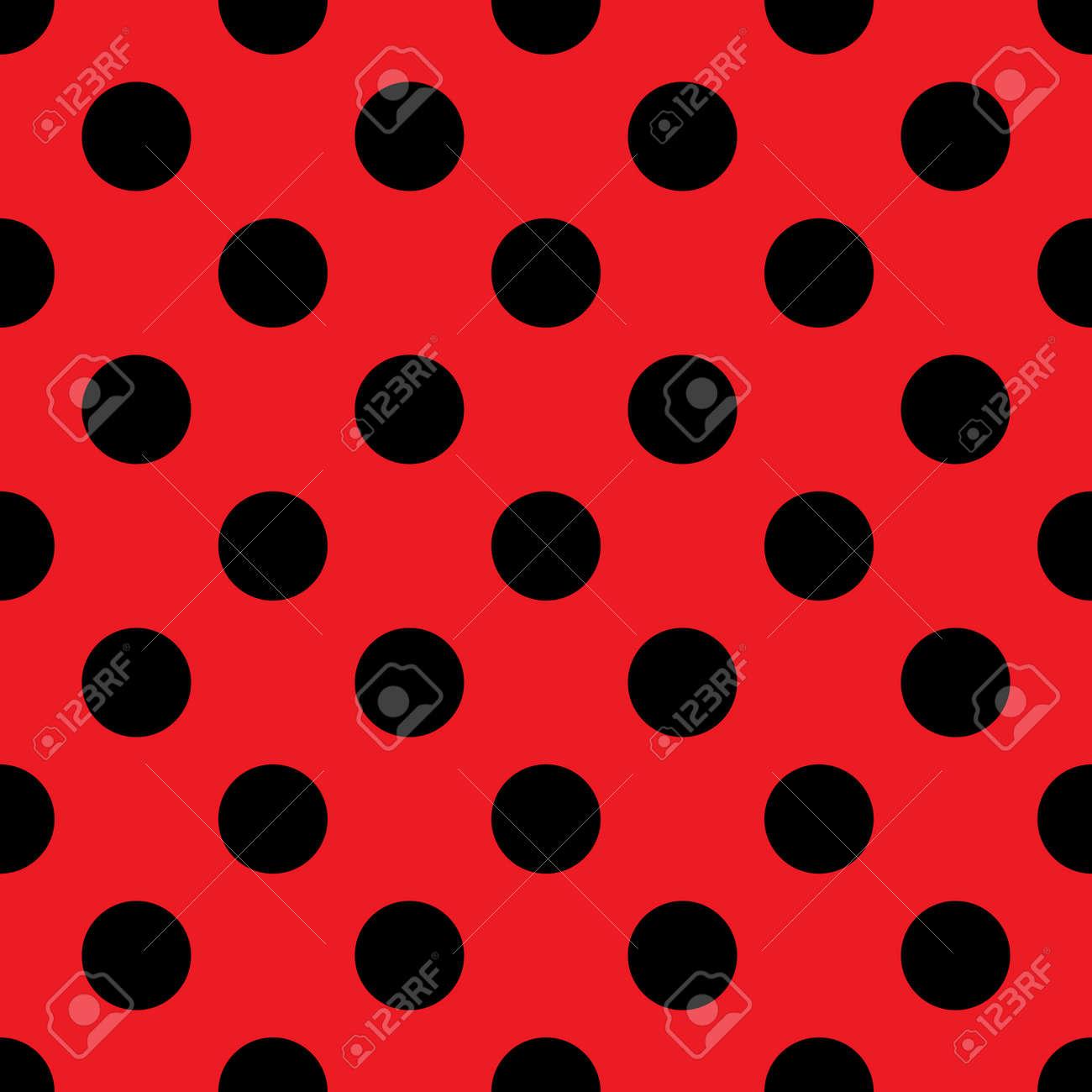 大きな水玉のシームレスなパターン ファッションの赤と黒のテクスチャ