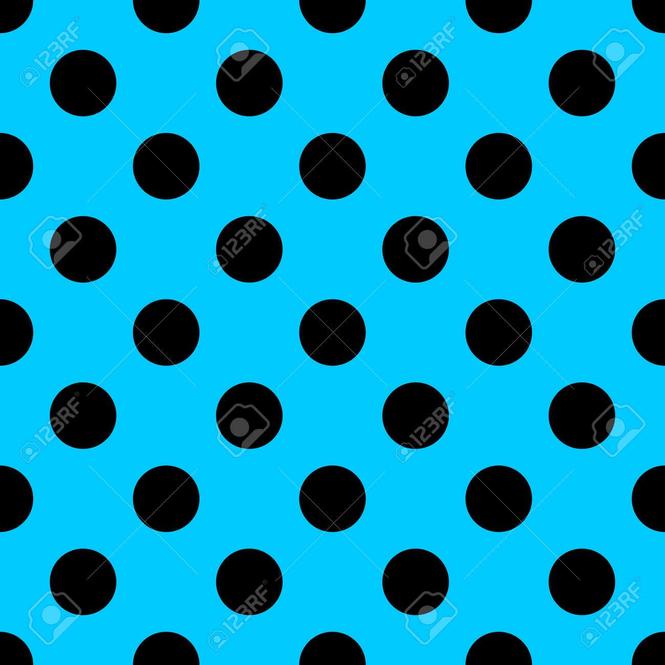 Big Polka Dot Nahtlose Muster. Abstrakte Mode Blaue Und Schwarze ...