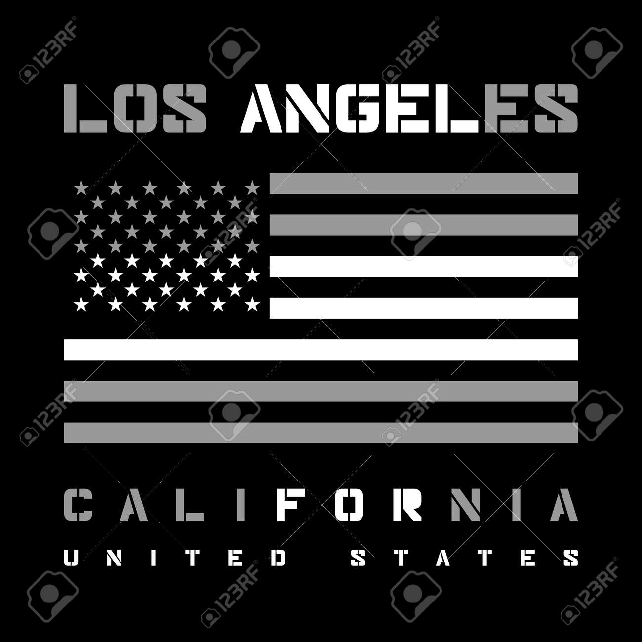 Los Angeles California Typography with american flag  T-shirt
