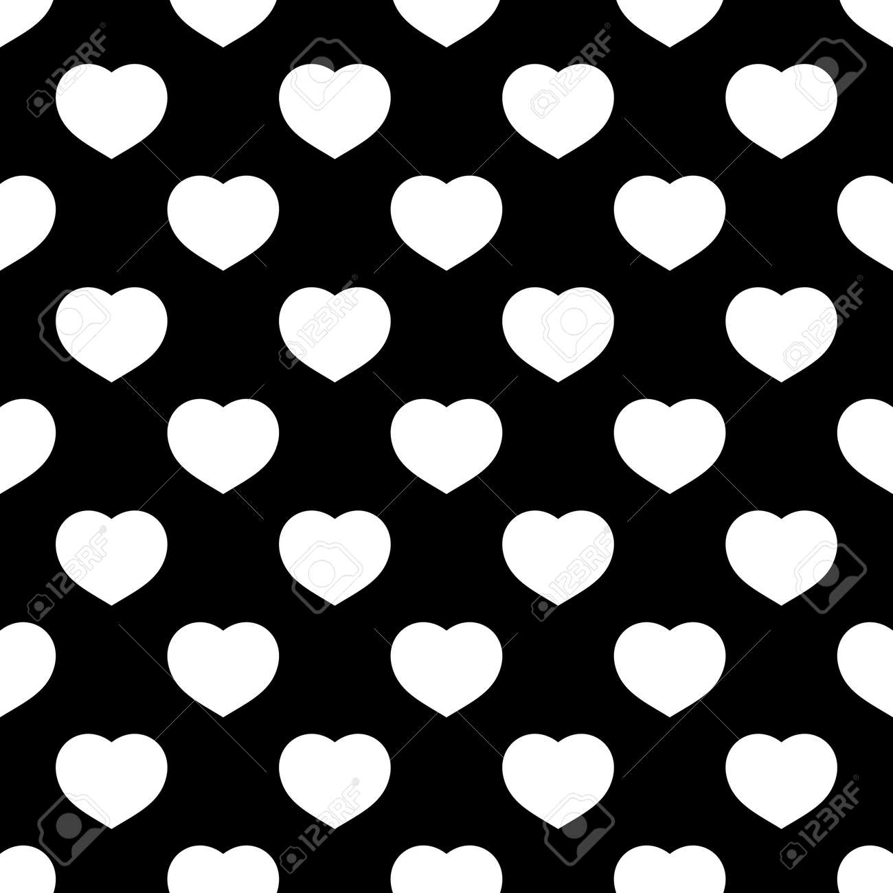 White Hearts Seamless Pattern On Black Background Fashion Love