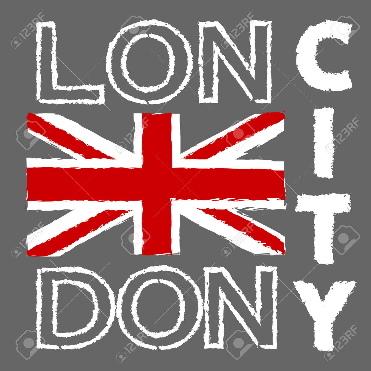 London City Typography Graphics British Flag Illustration Fashion Printing Design For Sportswear Apparel