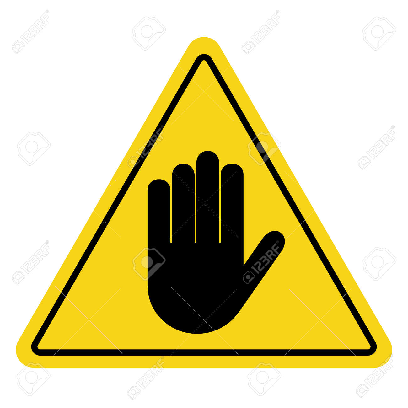 Stop No Entry Hand Sign On Yellow Background Attention Triangular