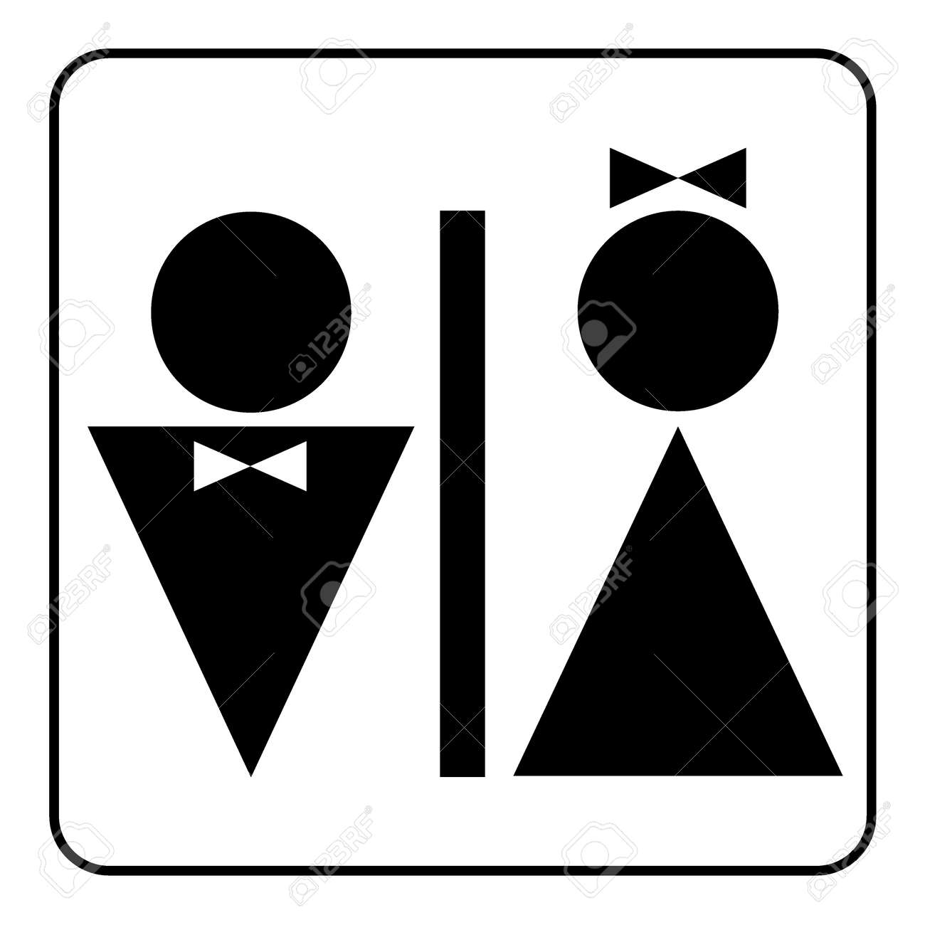 Restroom Sign Male And Female Toilet Icon Denoting Facilities For Both Men Women