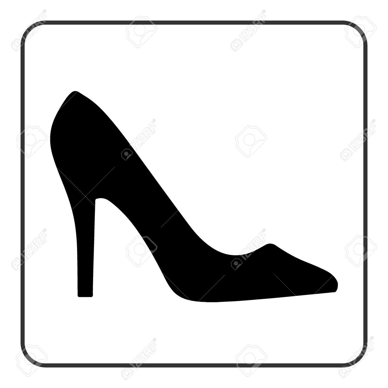 High Heel Shoes Icon Elegant Black Silhouette Information Sign