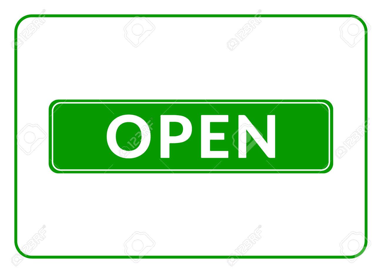 Panneau Ouvert Imprimer Avec Permettant Symbole Pour Magasin Cafe Hotel Bureau D Affaires Etc Icone Rectangulaire Informatif Entree Signboard