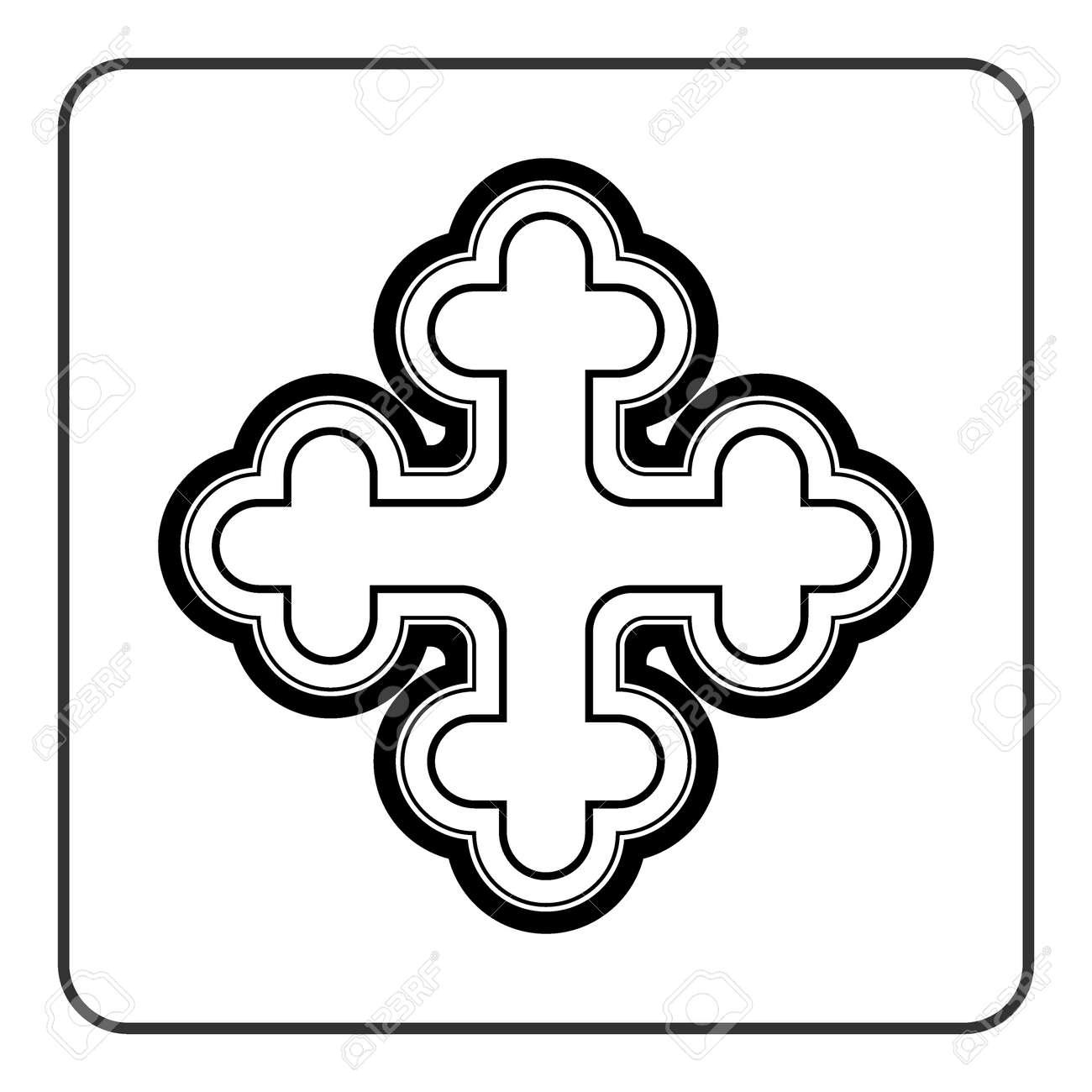 Cross Icon Traditional Religion Ornate Symbol Black Silhouette