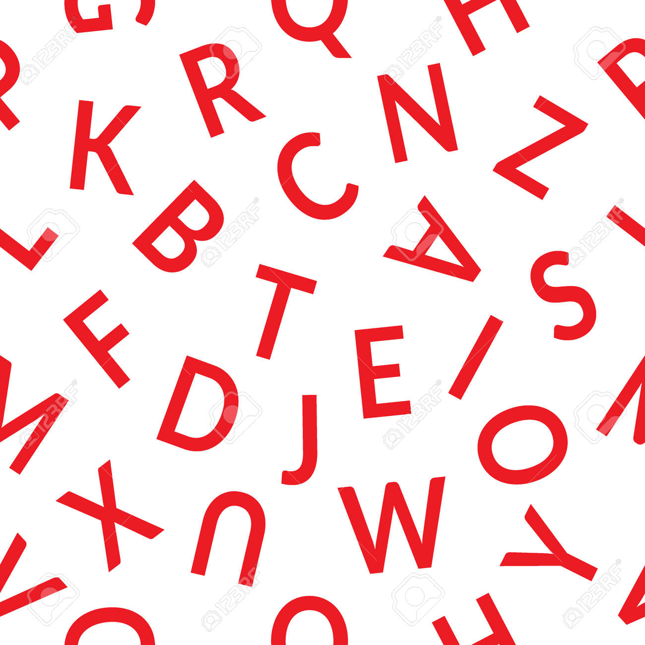 Seamless Pattern With Letters Abstract Red Letters On White