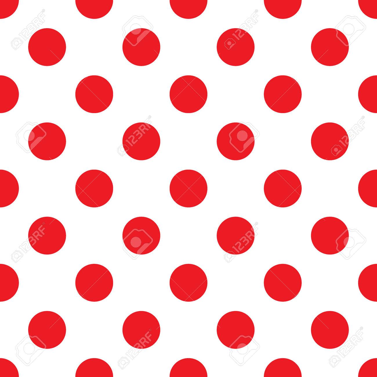 大きな水玉のシームレスなパターン ファッションの赤と白のテクスチャ