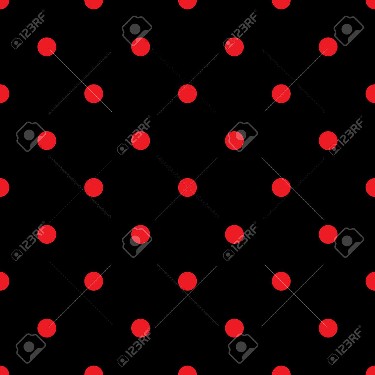 小さな水玉のシームレスなパターン ファッションの赤と黒のテクスチャ