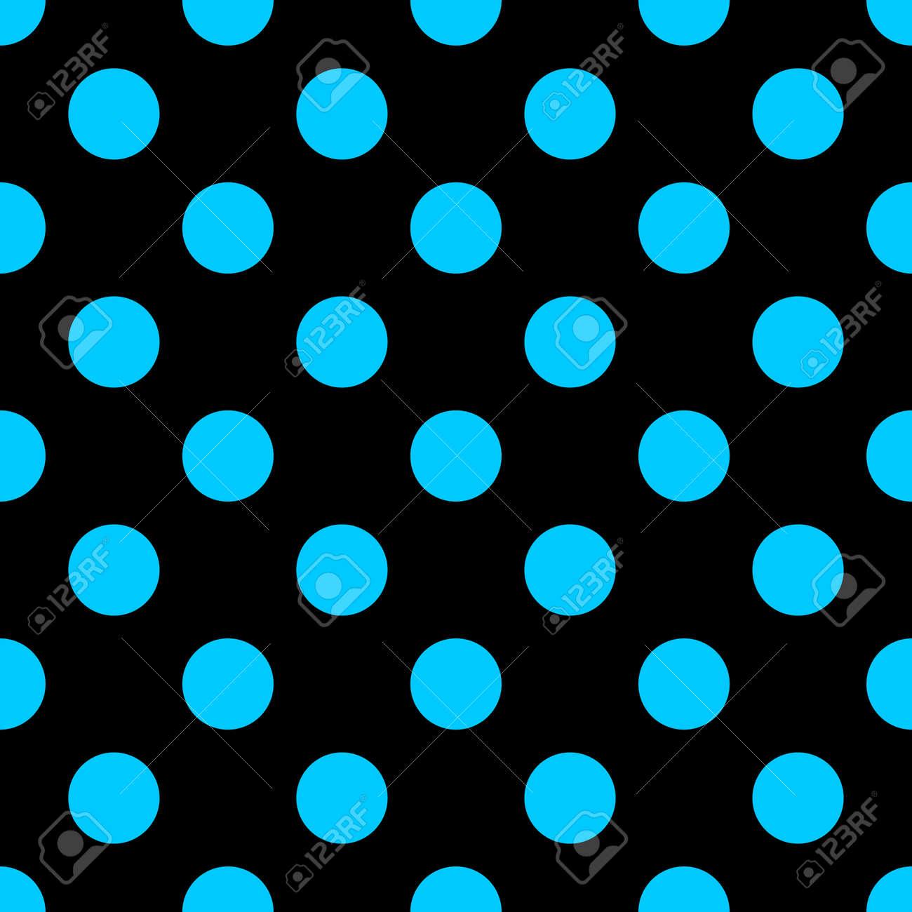 大きな水玉のシームレスなパターン ファッションの青と黒のテクスチャ