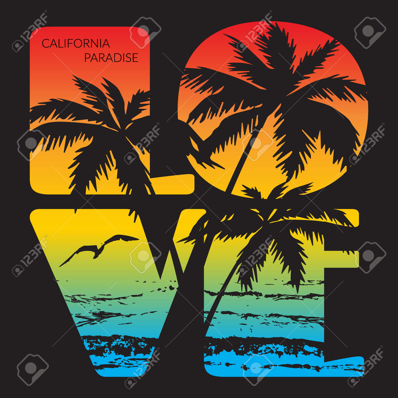 2141366ec820e8 California paradise Typography Graphics. T-shirt Printing Design for sports  apparel. CA ocean