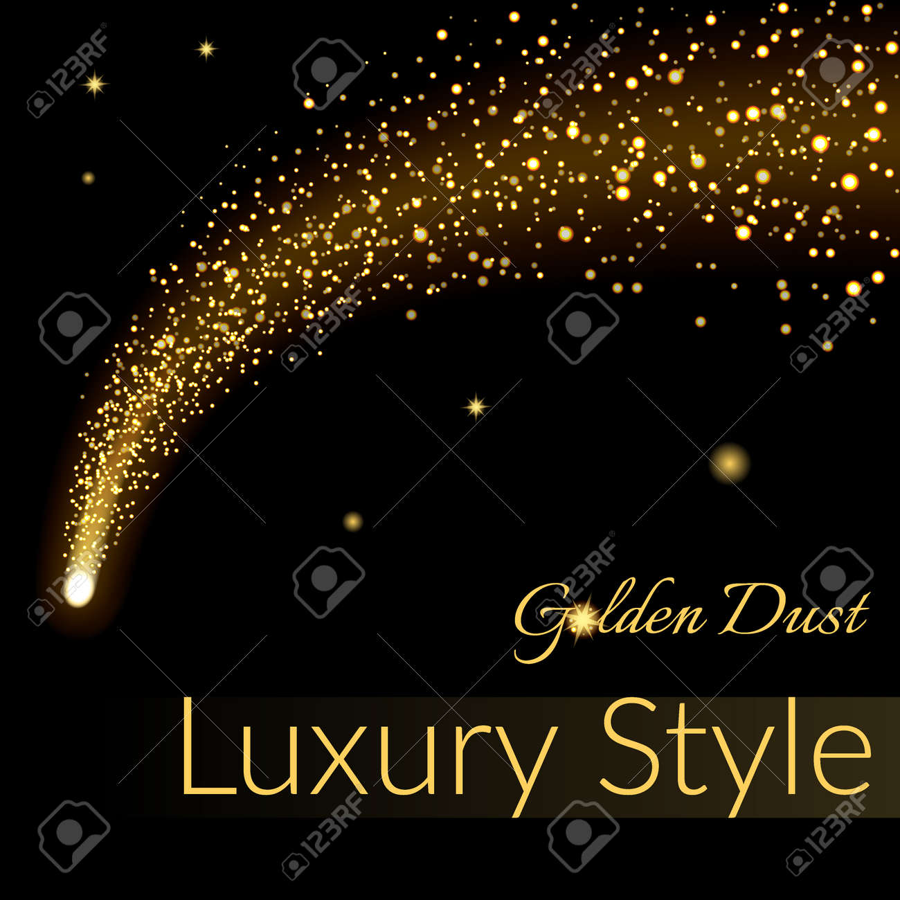 Golden sparkling falling star. Gold dust trail. Cosmic glittering wave in black background. Abstract Design template. Lights, glitter, sparkles. Fashion stylish retro design. Stock Vector illustration - 52490381