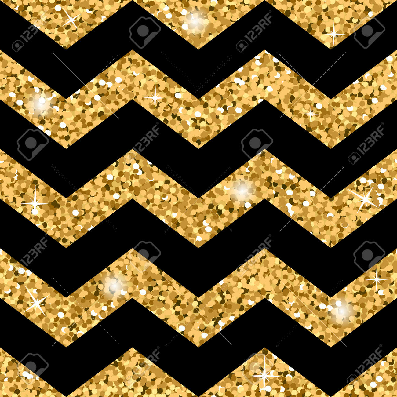 Zigzag Seamless Pattern. Gold Glitter And Black Template. Abstract ...