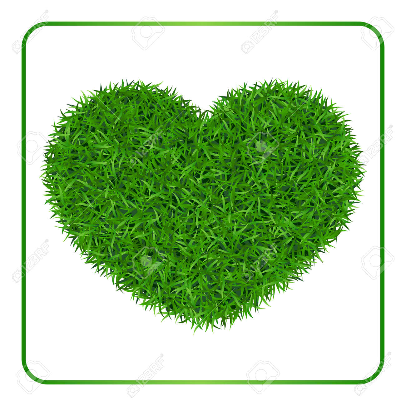 Heart Green Grass Background. Field Template, Isolated On White ...
