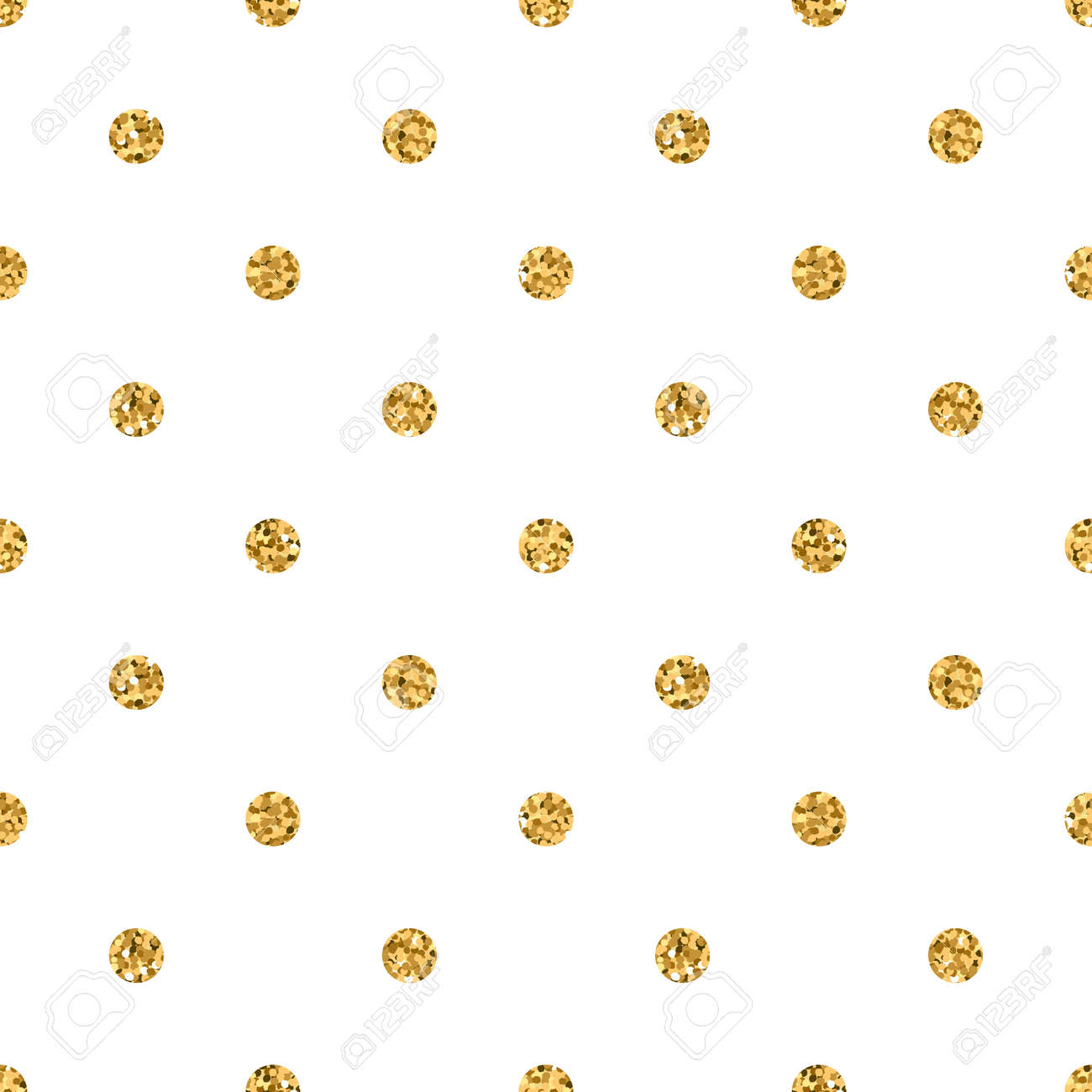 Polka Dots Seamless Pattern Gold Glitter And White Template Abstract Geometric Texture Golden