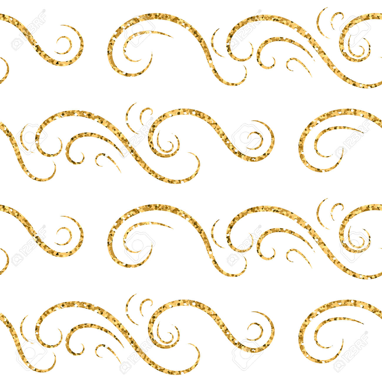 Gold Wave Seamless Pattern Draw Golden Swirl Glitter On White Royalty Free Cliparts Vectors And Stock Illustration Image 54127283