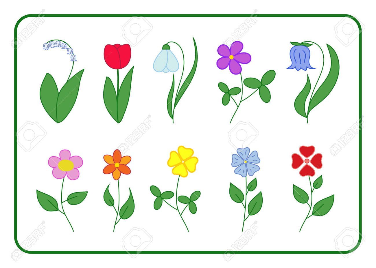 Tree cartoon flower icons set nature floral flat signs isolated on stok fotoraf tree cartoon flower icons set nature floral flat signs isolated on white background summer and spring tulip bell lily of the valley izmirmasajfo