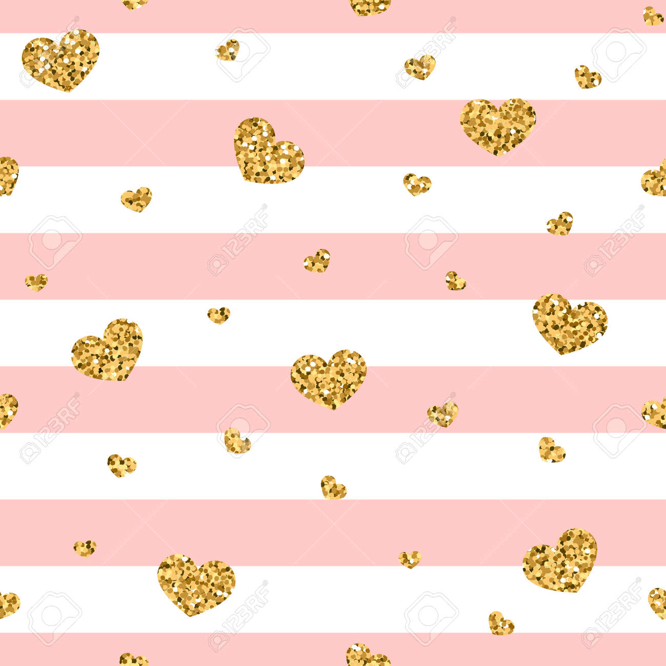 golden hearts stripes seamless pattern gold glitter and pink