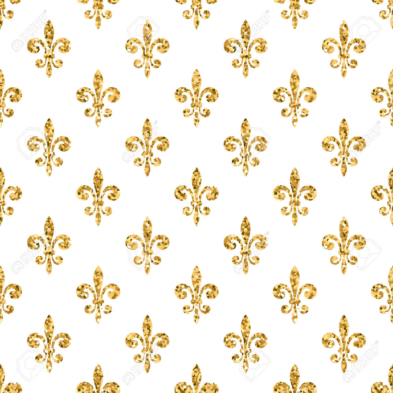 Golden Fleur De Lis Seamless Pattern Gold Glitter And White Template Floral