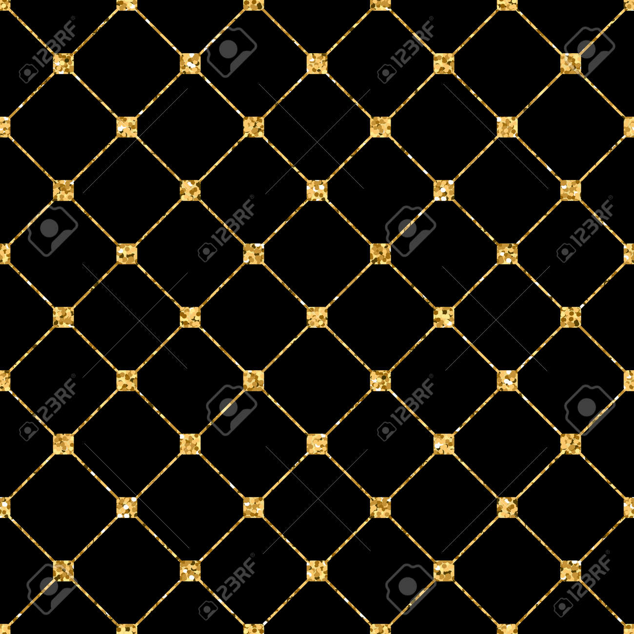 rhombus seamless pattern gold glitter and black template abstract