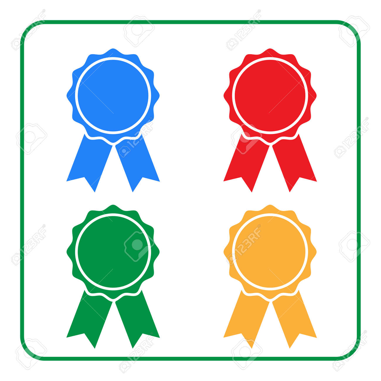 Ribbon award icons set  Blue, red, green, yellow rosette badge,