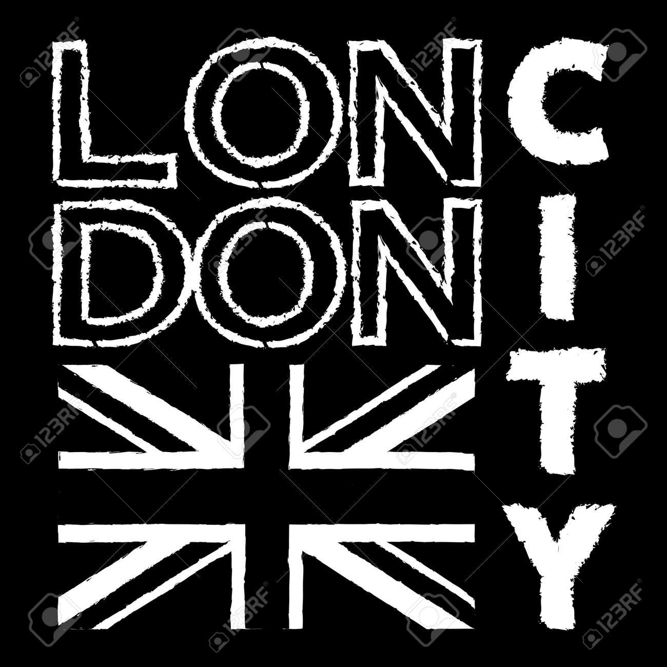 London City Typography Graphics British Flag Background Fashion Printing Design For Sportswear Apparel