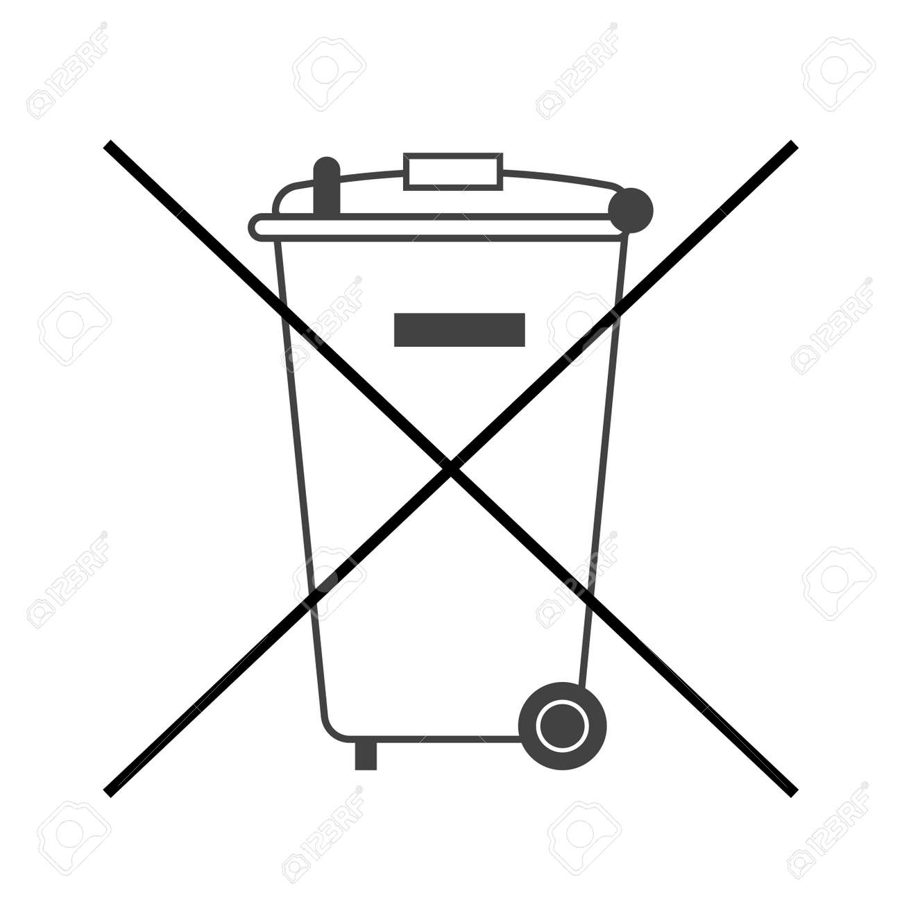 No Trash Bin Icon Crossed Litter Container Recycle Symbol