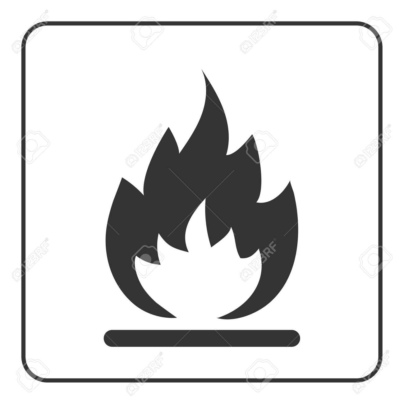 Icône De Feu Signe De La Flamme Chaude Noir Abstrait Silhouette