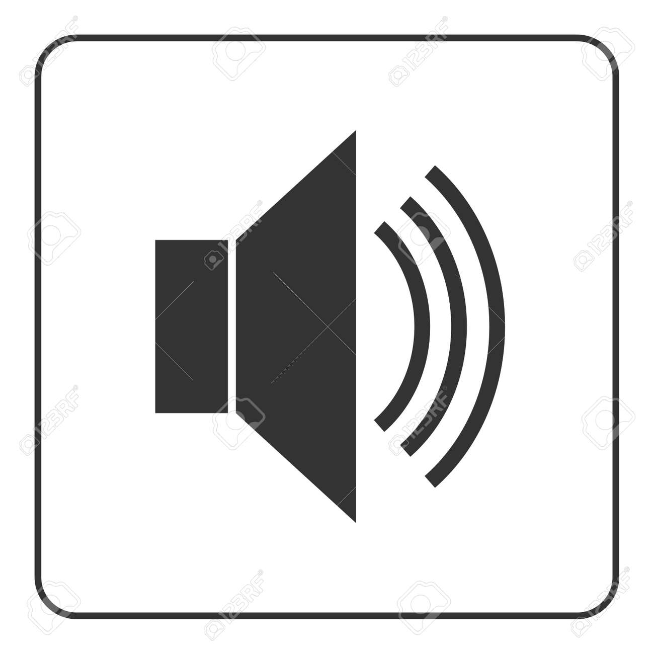 Speaker Icon With Waves. Black Loudspeaker Public Sign Isolated ...