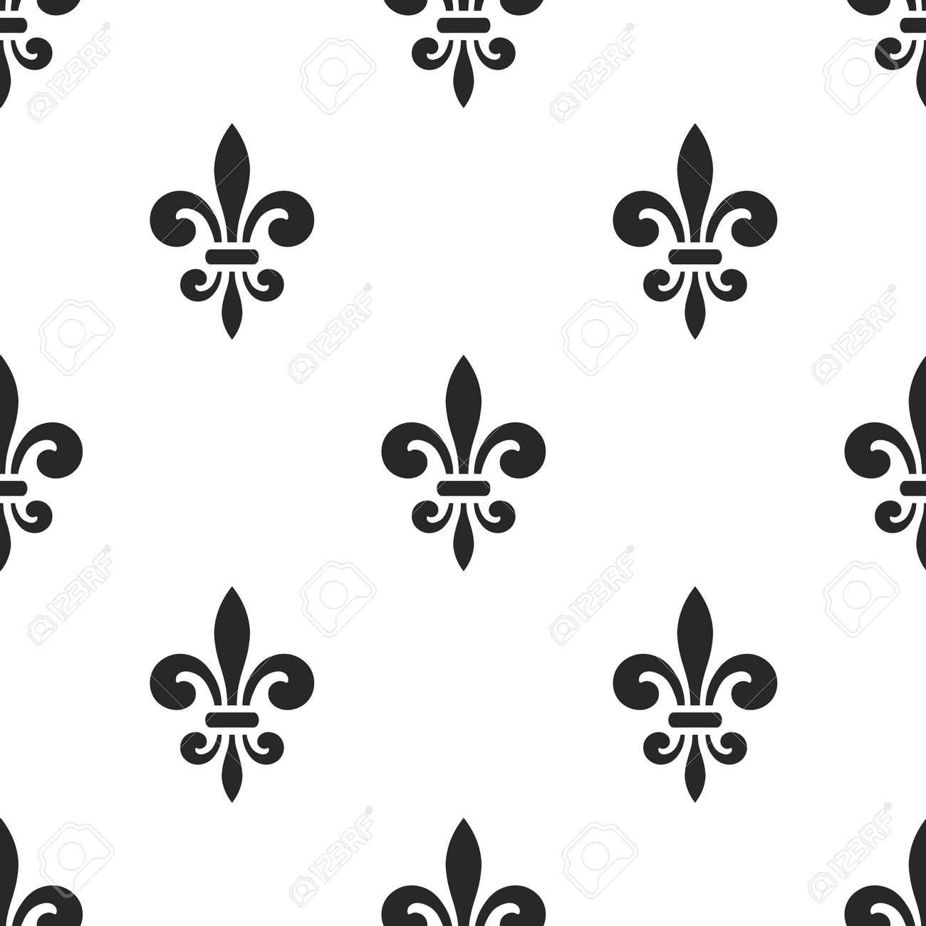 Golden Fleur De Lis Seamless Pattern Black White Template Floral Classic Texture
