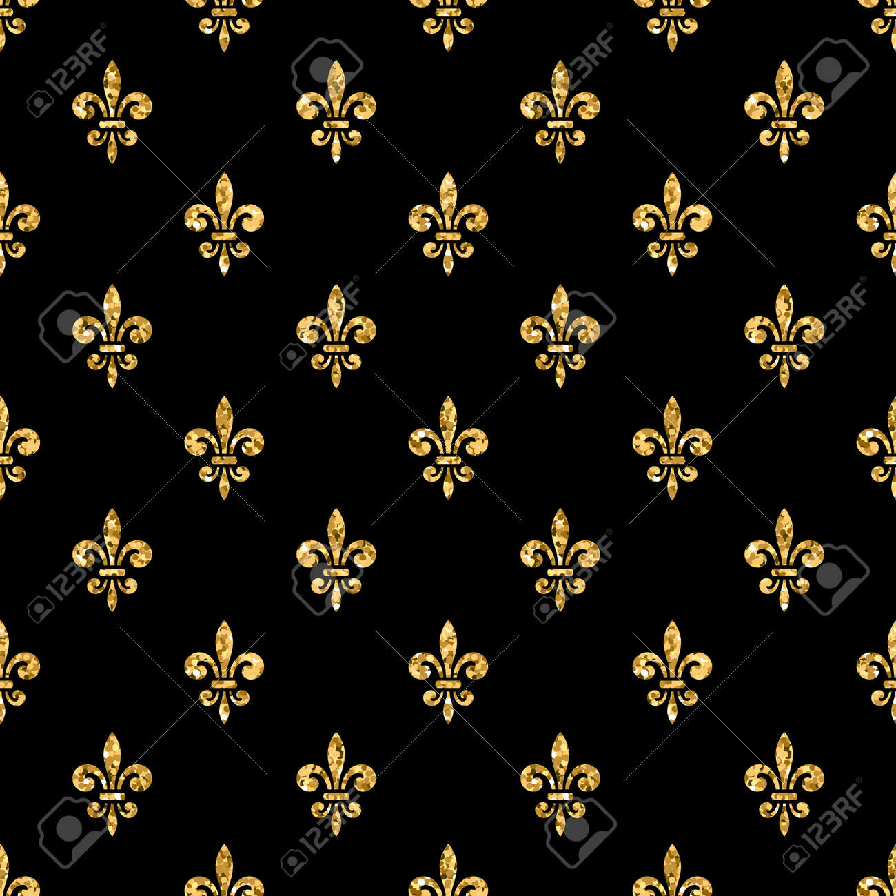golden fleur de lis seamless pattern gold glitter and black