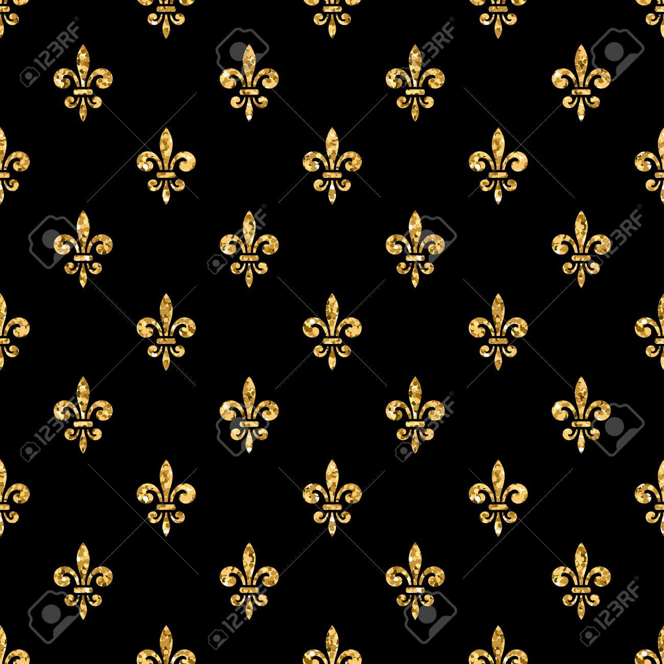 Or Fleur De Lis Seamless Paillettes D Or Et Le Modele Noir Texture