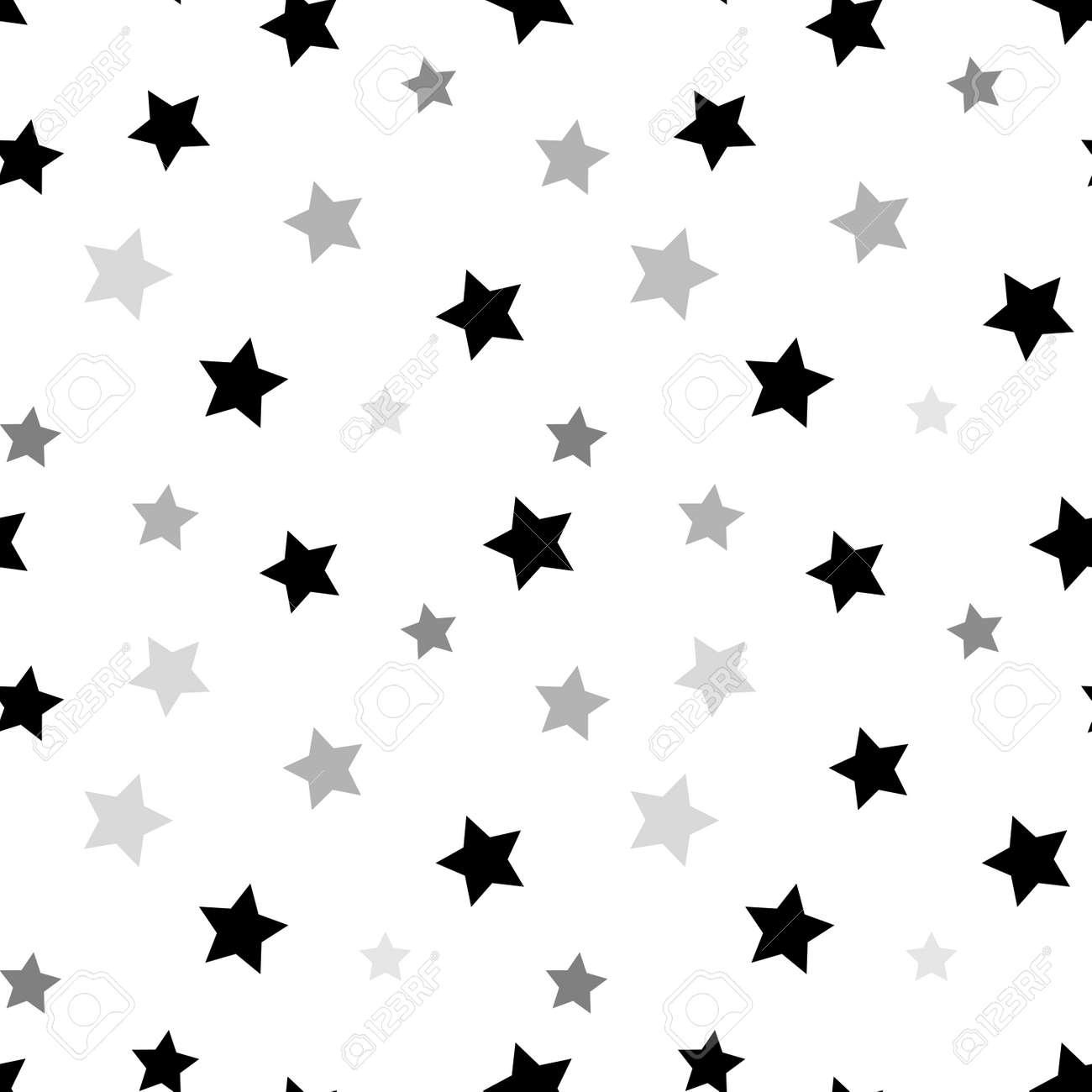 Estrellas Sin Patrón Negro Y Retro De Fondo Blanco. Elementos ...