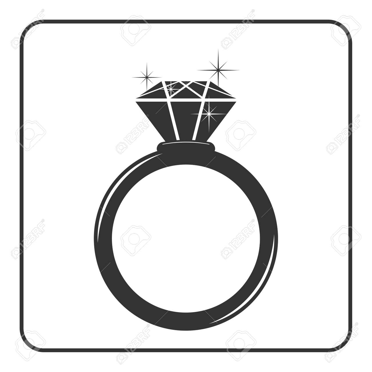 Diamond engagement ring icon. Shiny sparkle crystal sign. Black circle silhouette isolated on white background Flat fashion design element. Symbol engagement, gift, jewel expensive Vector Illustration - 56914676