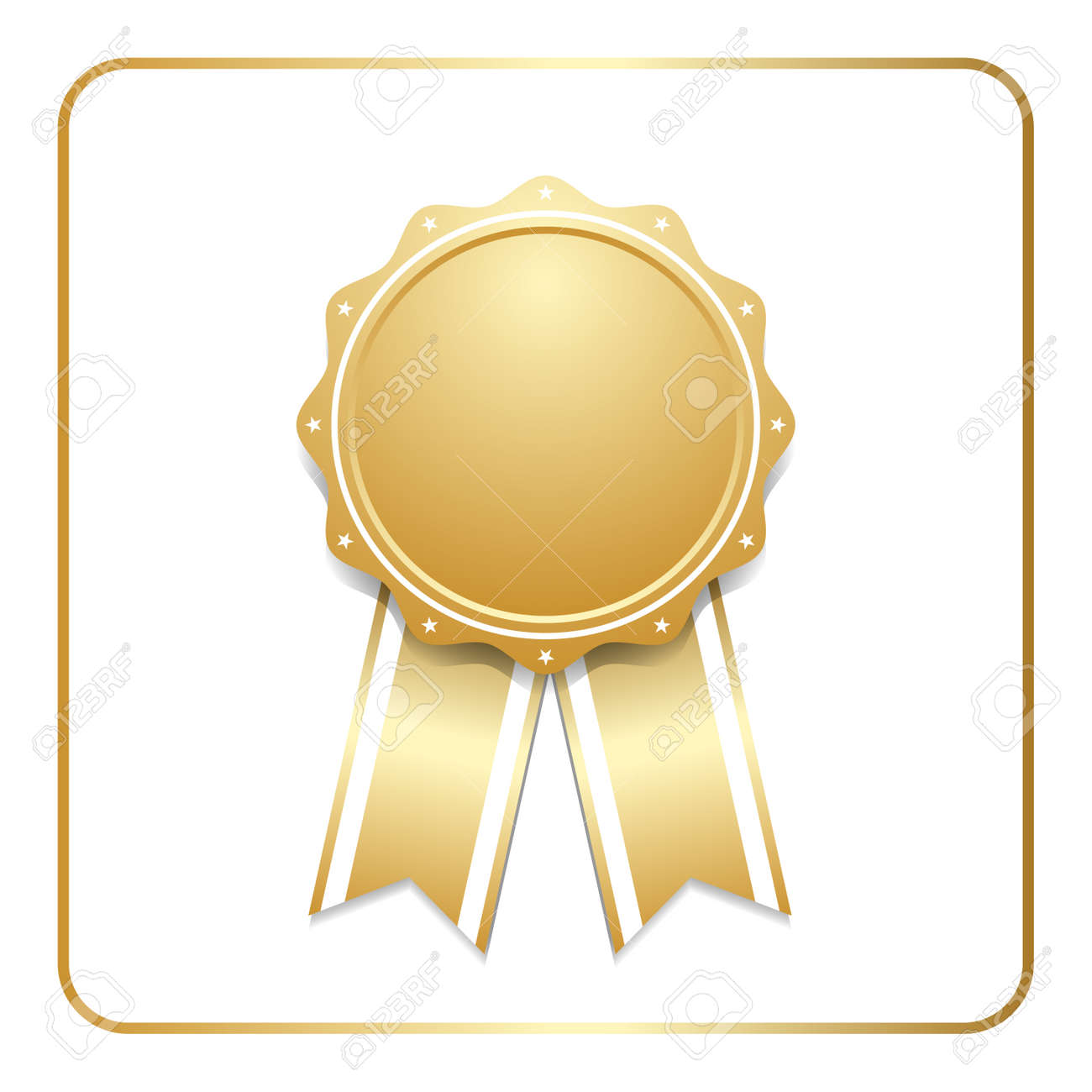 award ribbon gold icon blank medal with stars isolated on white