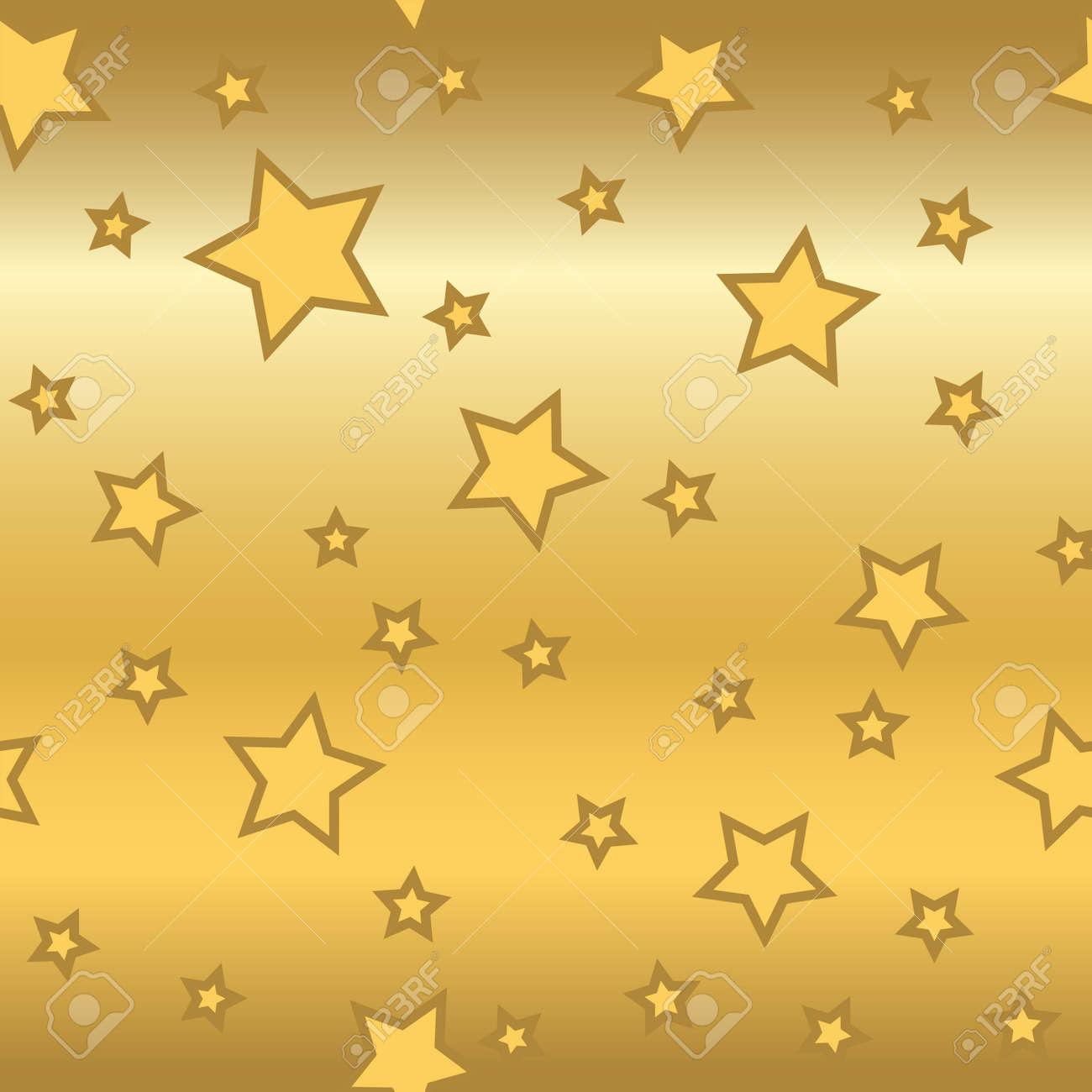 シームレスな星柄レトロなゴールドの背景 キラキラ カオス要素 抽象