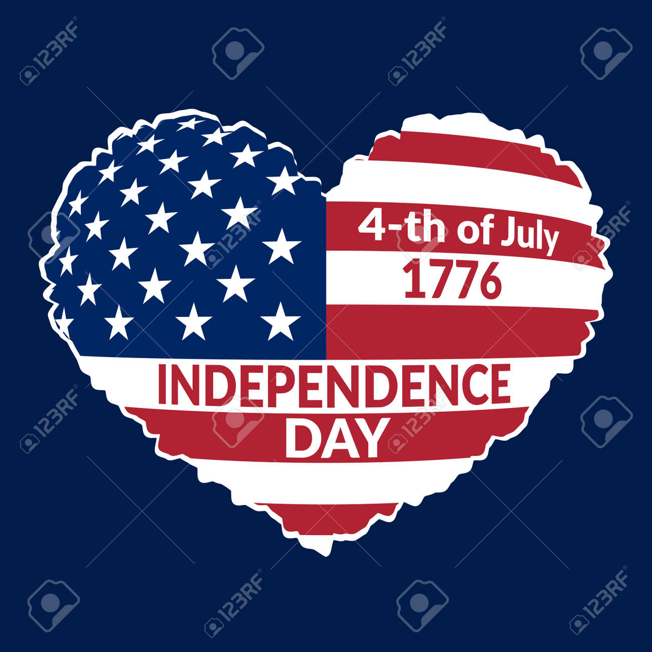 American Flag As Heart Shaped Symbol For 4th Of July Independence