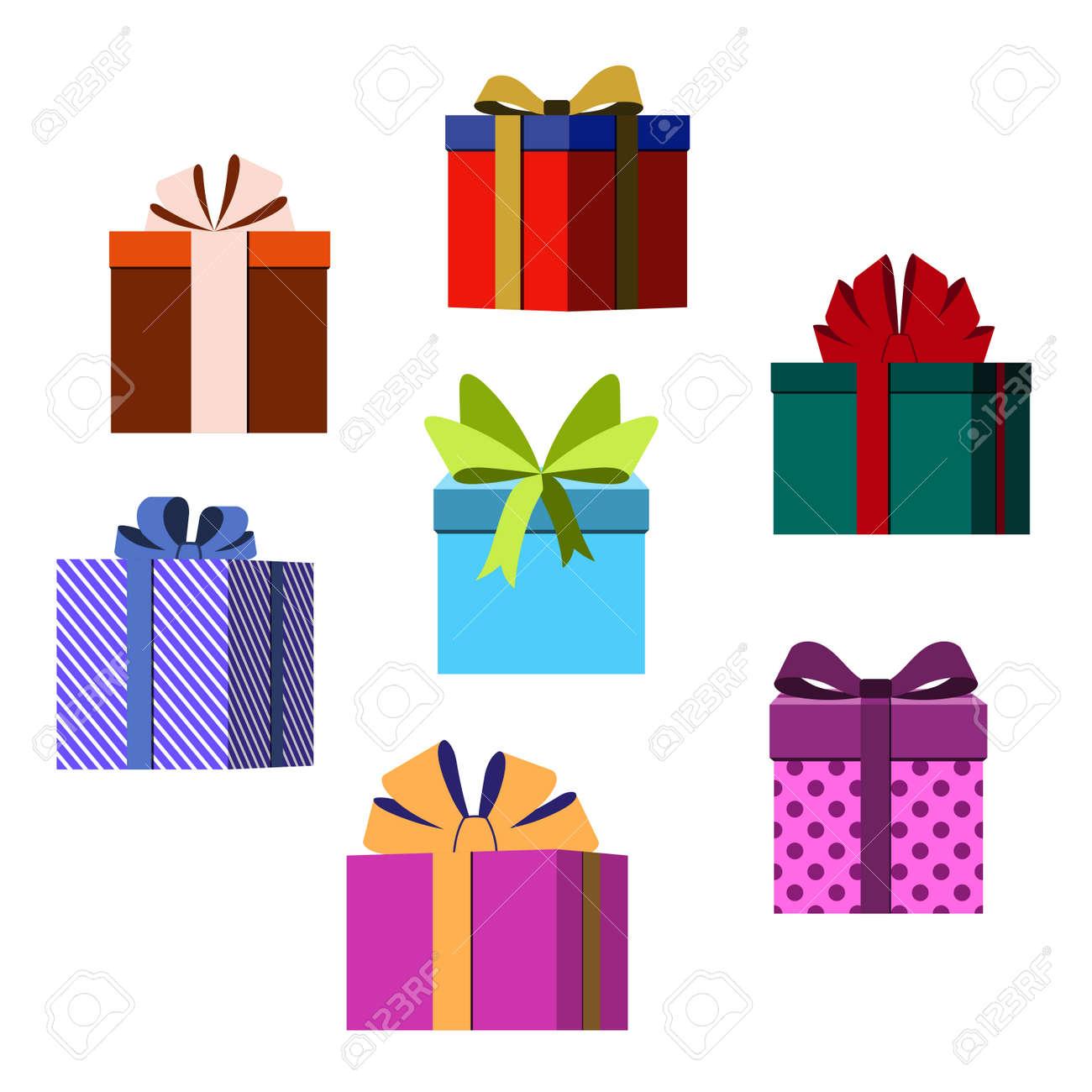 Bunte Gewickelte Geschenk-Boxen. Viele Geschenke Wohnung Stil ...