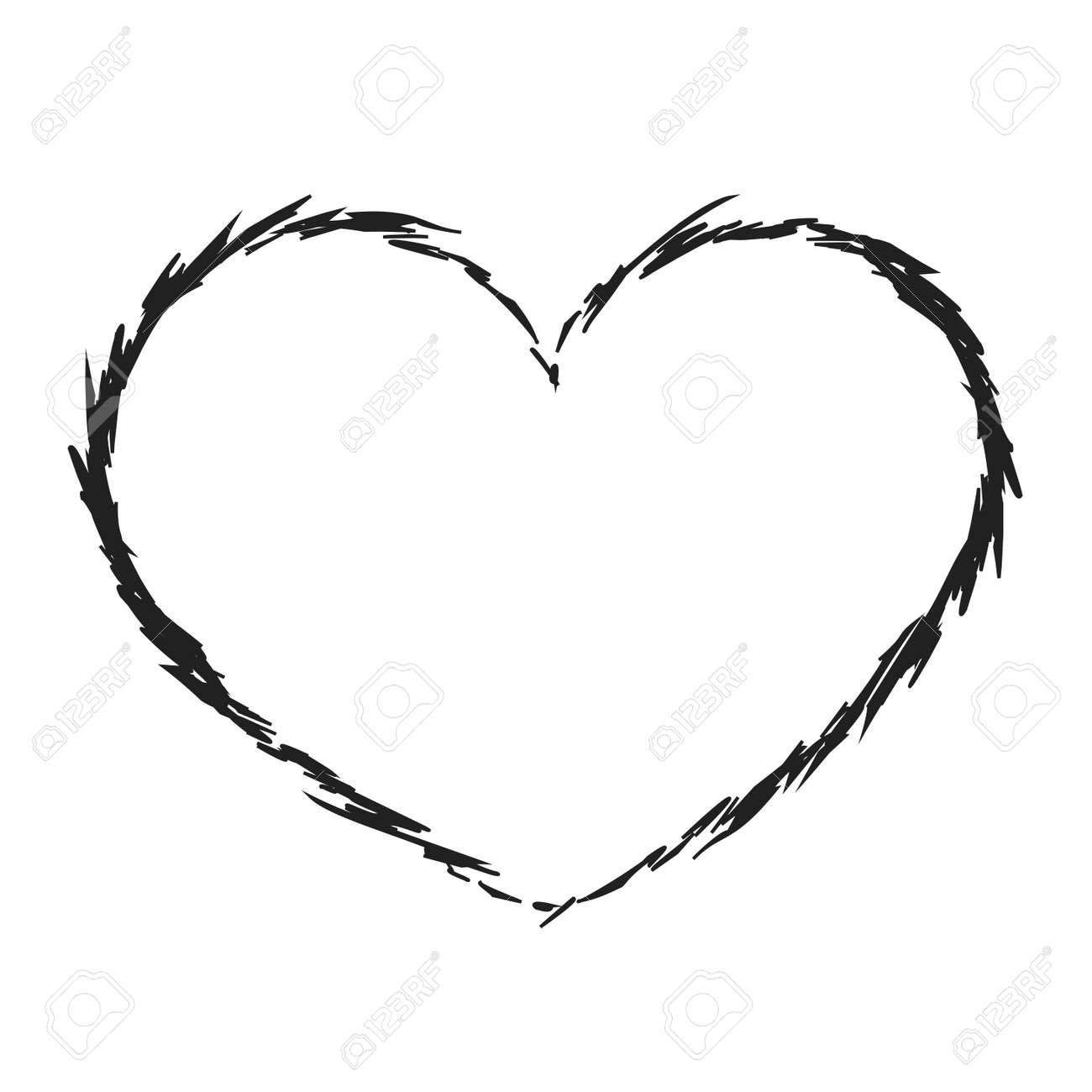 Noir Icône De Coeur Grunge Signe De Forme De Texture Isolé Sur Fond Blanc Symbole Romantique Amour Passion Dessin élément De Design