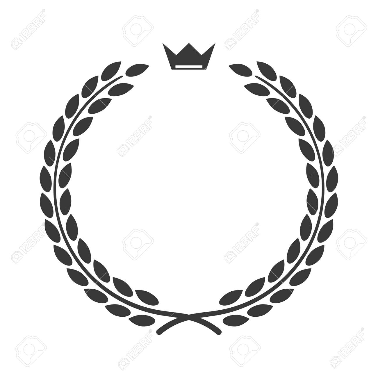 Laurel Wreath Icon With Crown Symbol Of Victory And Achievement