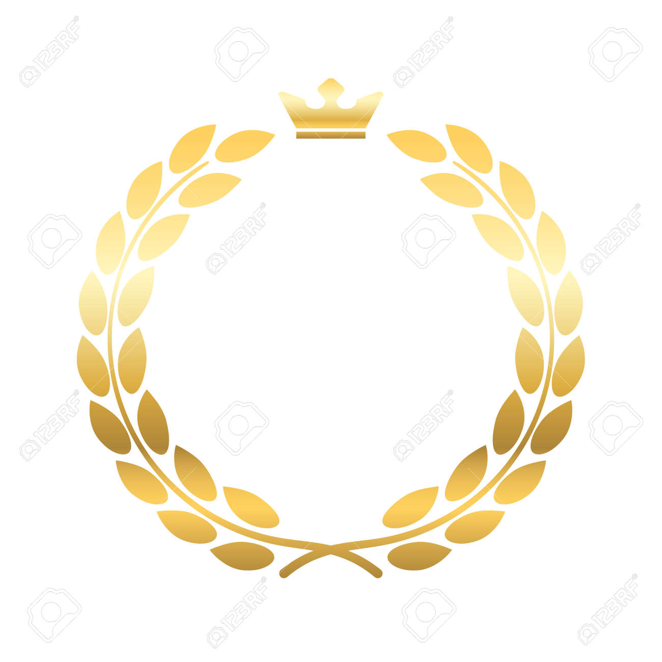 Gold Laurel Wreath With Crown Golden Leaf Emblem Vintage Design