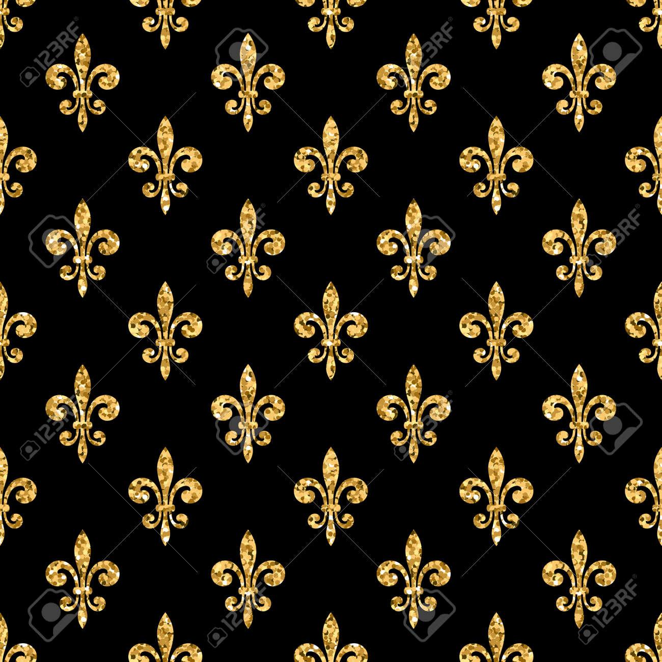 Golden Fleur De Lis Seamless Pattern Gold Glitter And Black Template Floral