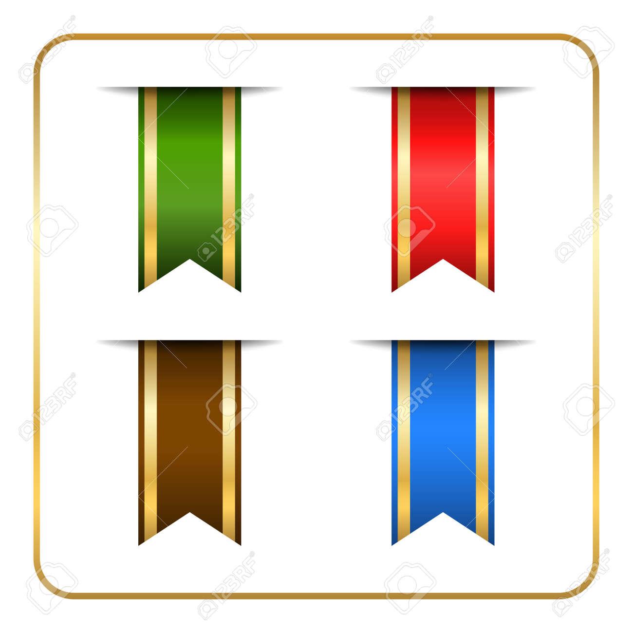 Gold Und Farbigen Lesezeichen Banner Gesetzt. Goldene Vertikale Buch ...