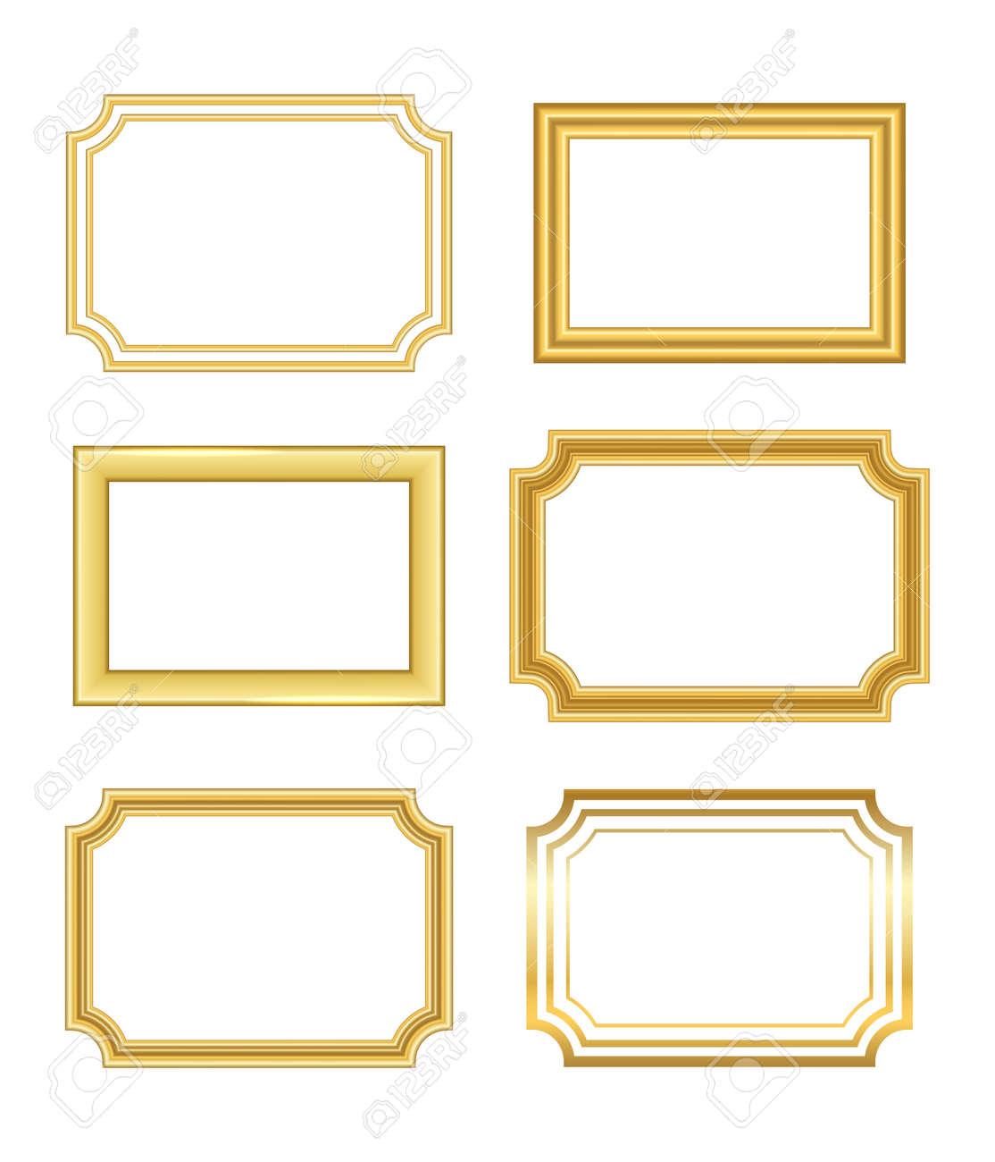 Marco Dorado Hermoso Diseño Dorado Simple. Frontera Decorativa Del ...
