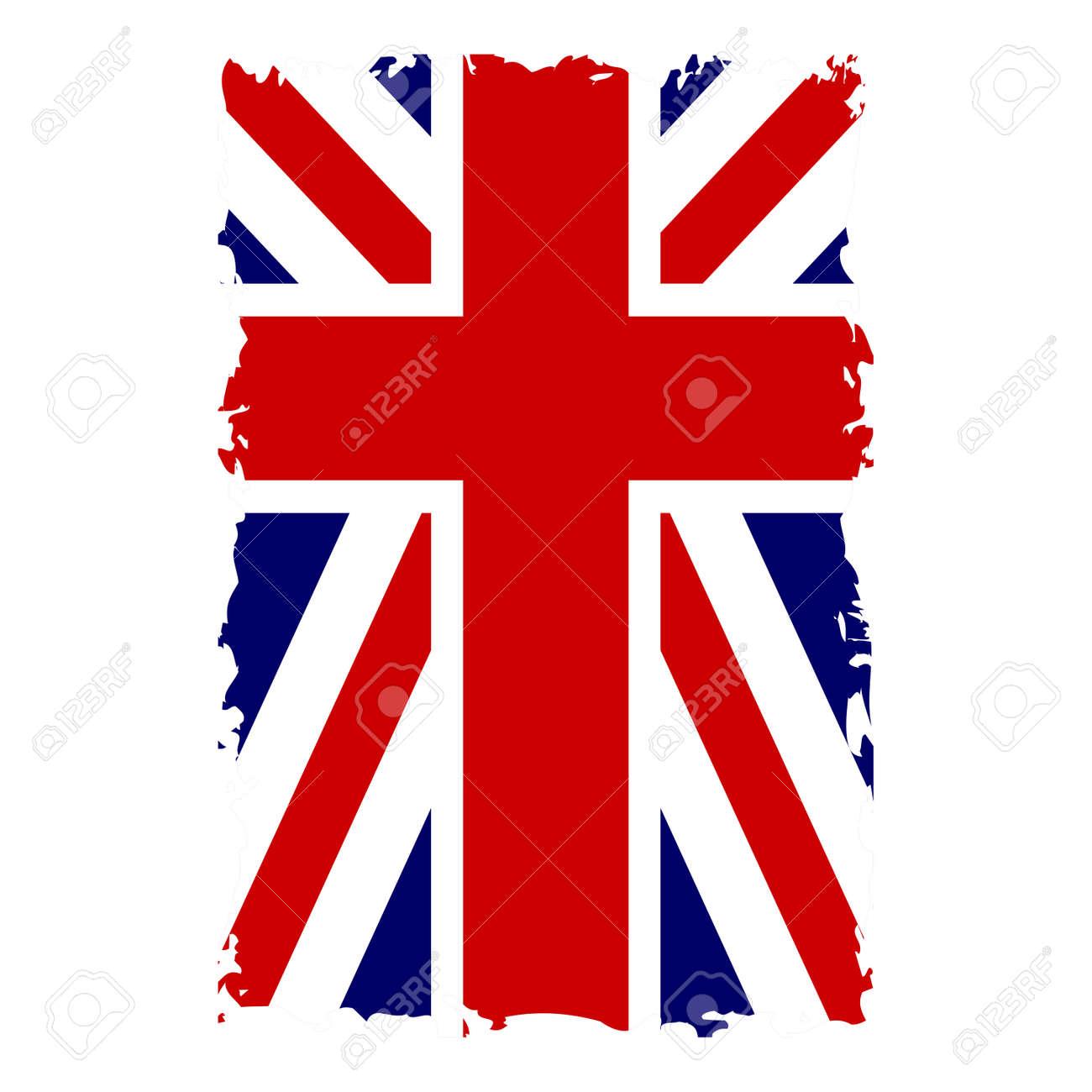 Vettoriale Bandiera Britannica Verticale Grunge Vecchio Stile