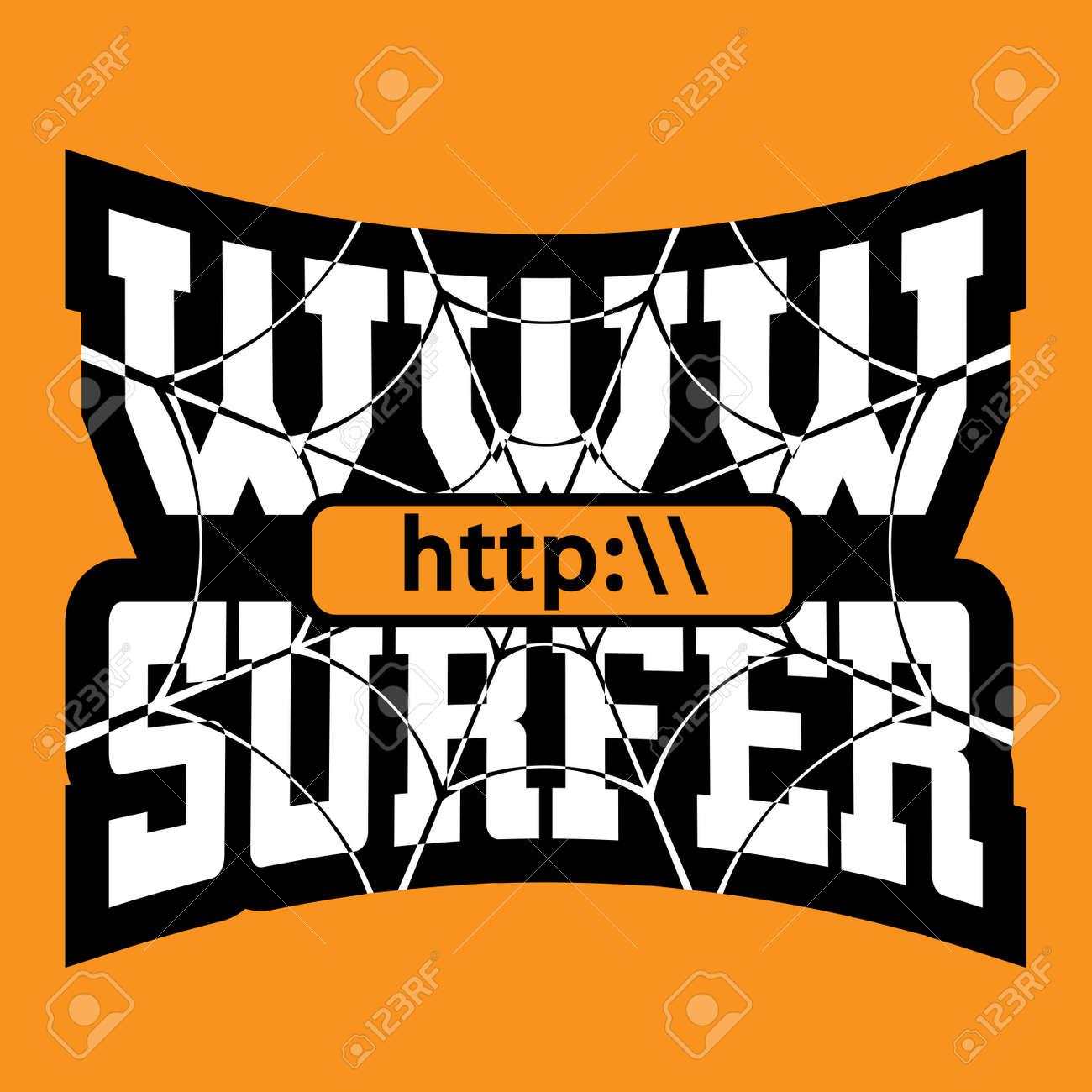 WWW Surfista Gráficos Camiseta Tipografía. Maqueta Del Grunge Con La ...