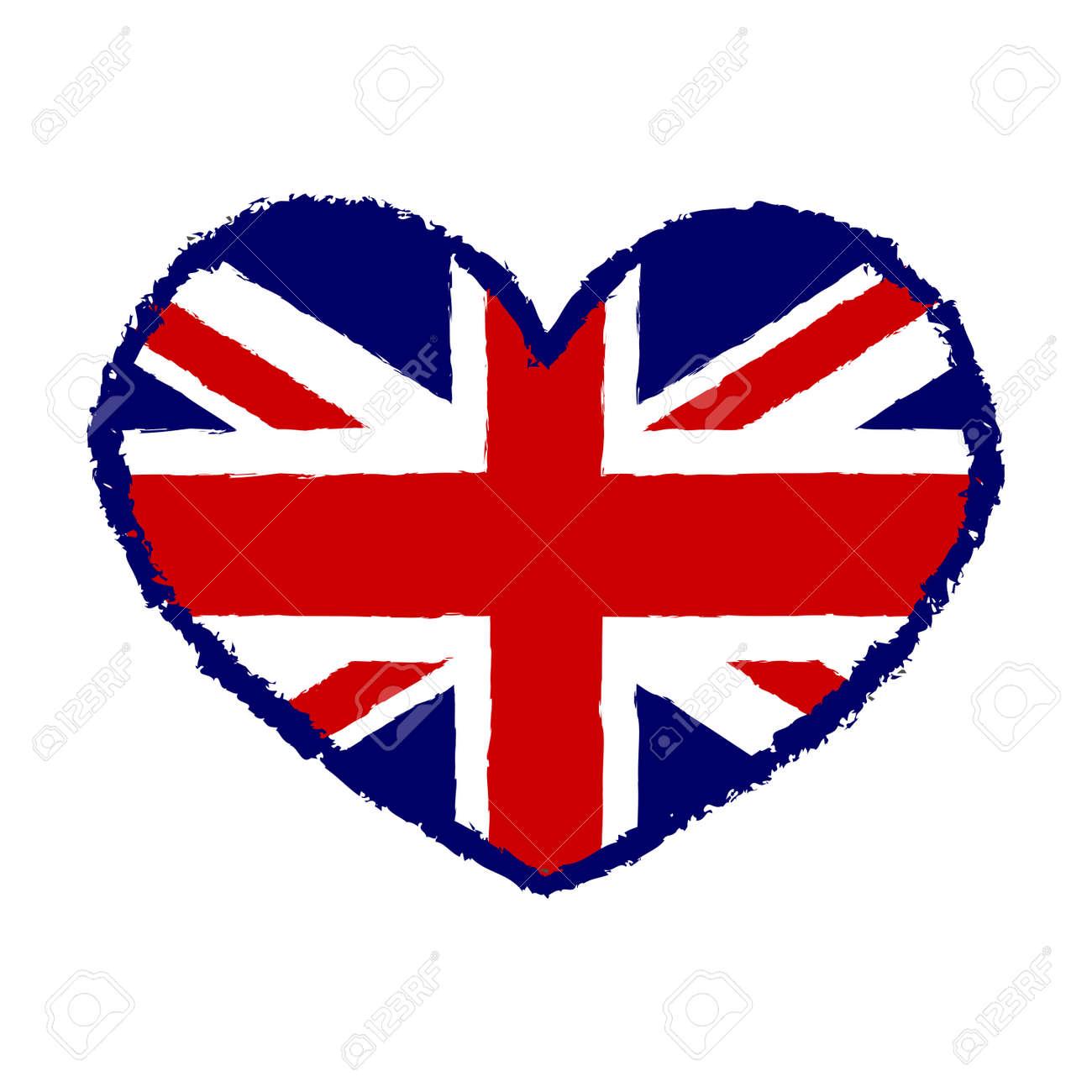 Drapeau Britannique T Shirt Graphiques De Typographie Conception Bleu Et Rouge Avec Le Coeur Isolé Sur Fond Blanc Symbole Angleterre