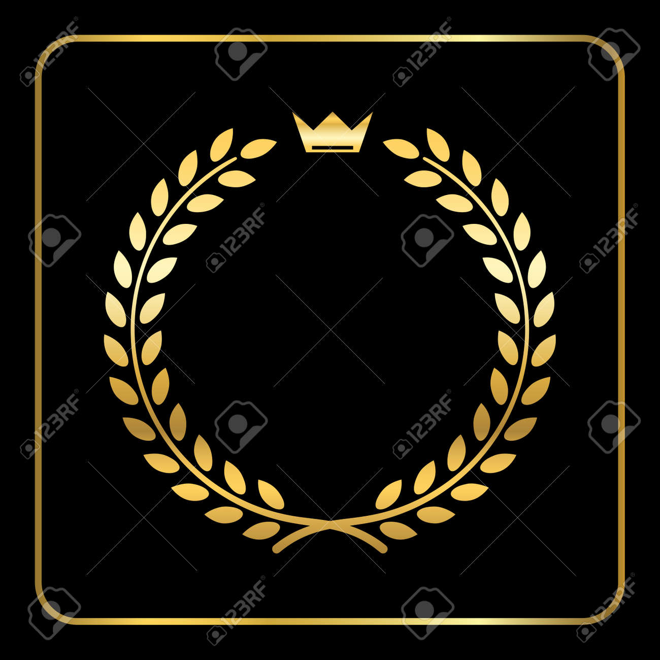 Gold Laurel Or Wheat Wreath Icon Symbol Of Victory Achievement And