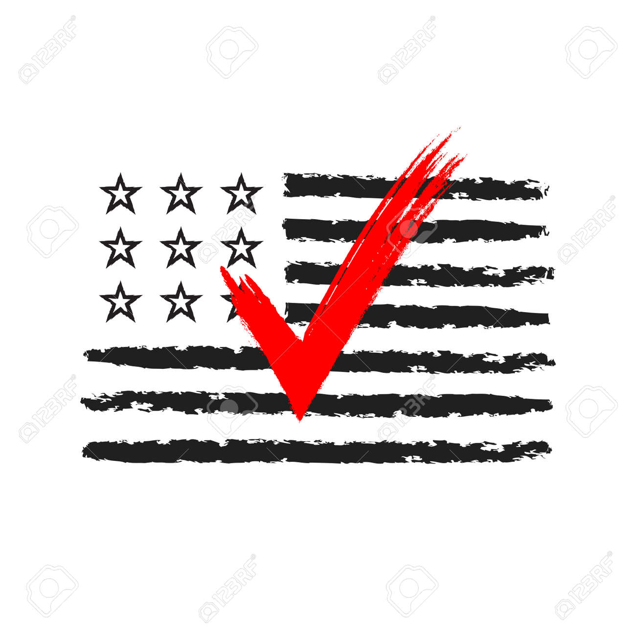 Presidential Election Usa Sign Black And Red Design On White